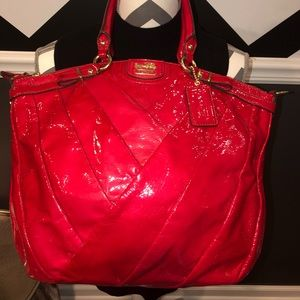 """COACH Large Red Patent Leather """"Madison"""" Satchel"""